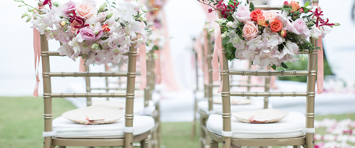 Chair hire - We offer a choice of Chiavari and Bentwood chairs for hire through our experienced suppliers. Chairs come with a colour choice of seat pad and can also be individually styled by our own experienced team. Full set up service available from only £3 per chair.