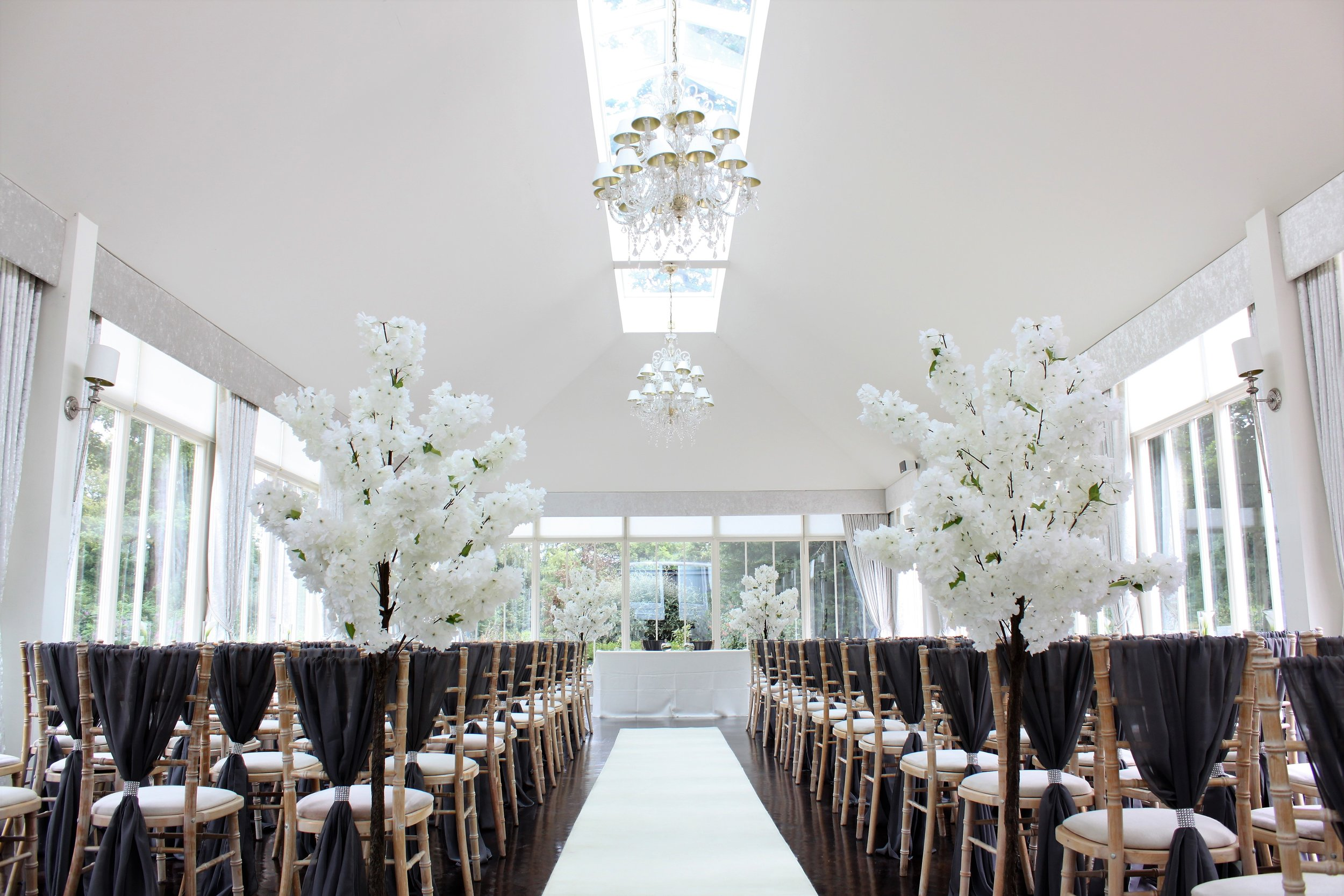 Blossom Trees - Make the perfect statement with our luxury range of 4ft and 6ft white blossom trees. A matching set that can be used to style your aisle then moved to create elegant table centrepieces.Hire from only £35 each or 10 for £300!