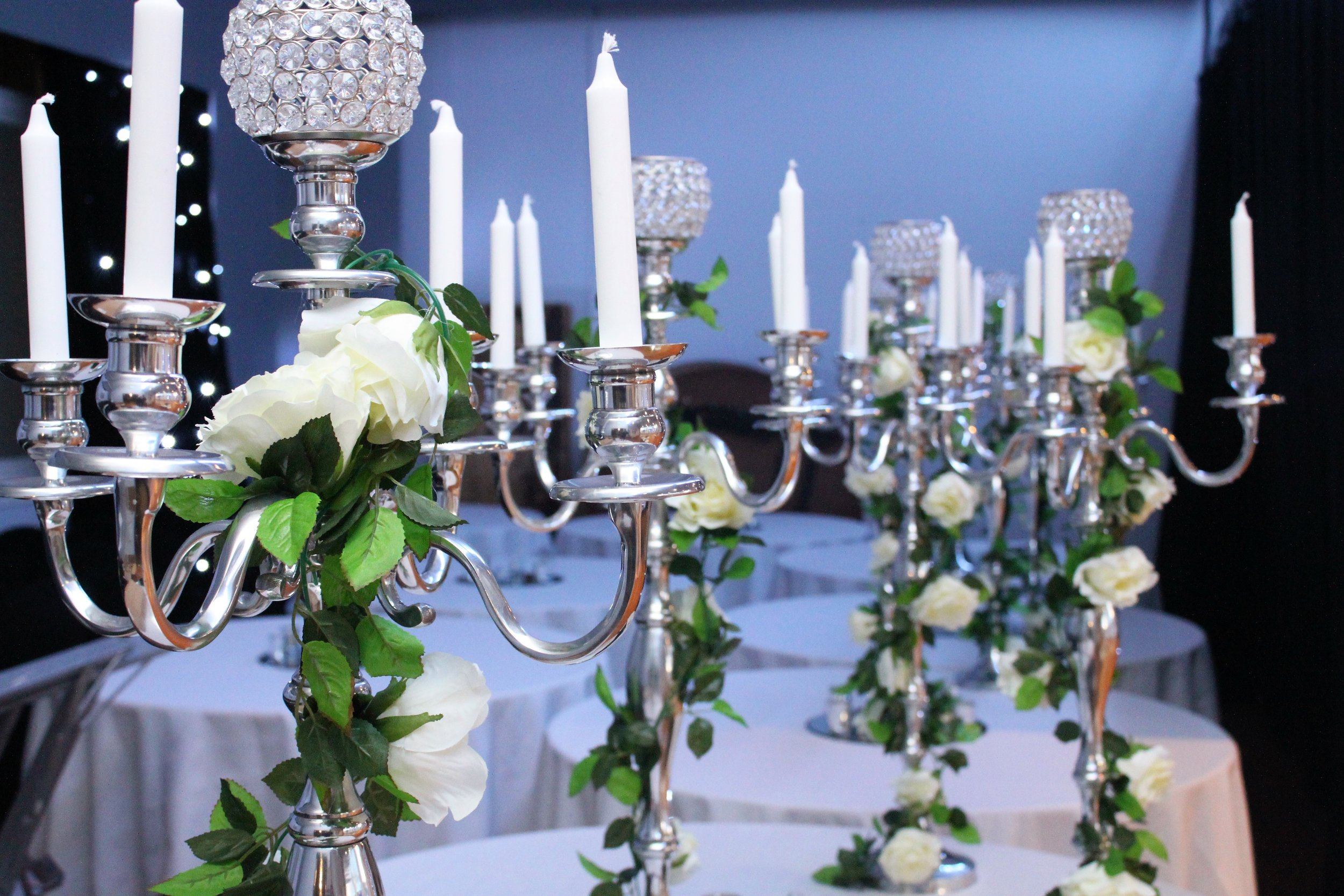 Candelabras - Candelabras make the perfect centrepiece and bring a luxury feel to any table. We stock a range of medium, large and extra large candelabras that come in both silver and gold.Hire from only £15 each or 10 medium for £100!
