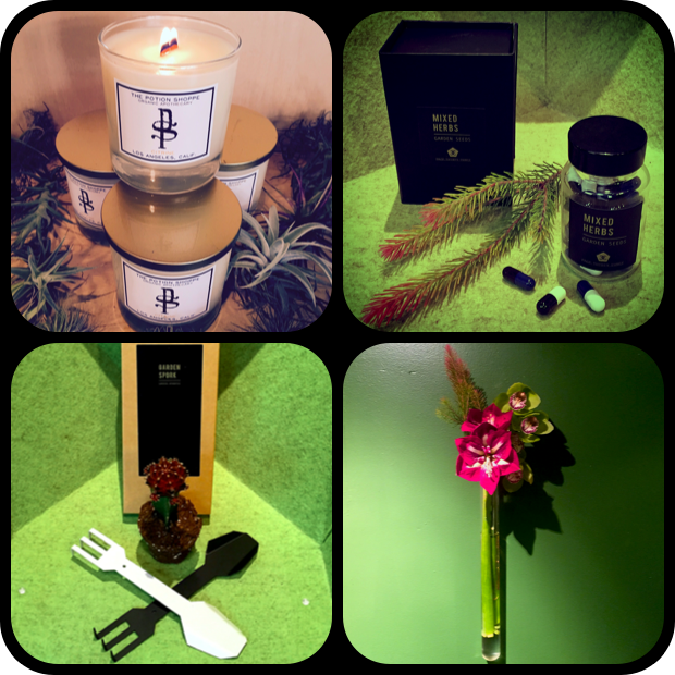 From Top, Left to Right...The Potion Shoppe Citrine Candle, Mixed Herb Seed Capsules, From Bottom Left to Right...Garden Spork in Grey and Black, and the Glass Wall Vase.