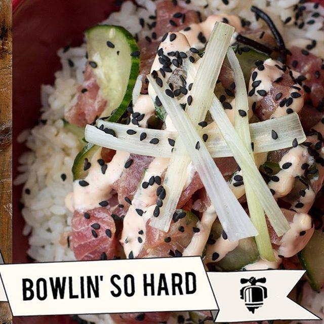Introducing the Poke Bowl! Sashimi grade tuna, cucumber, tamari, sesame, seaweed over sushi rice and topped with spicy mayo! 🍚🥒