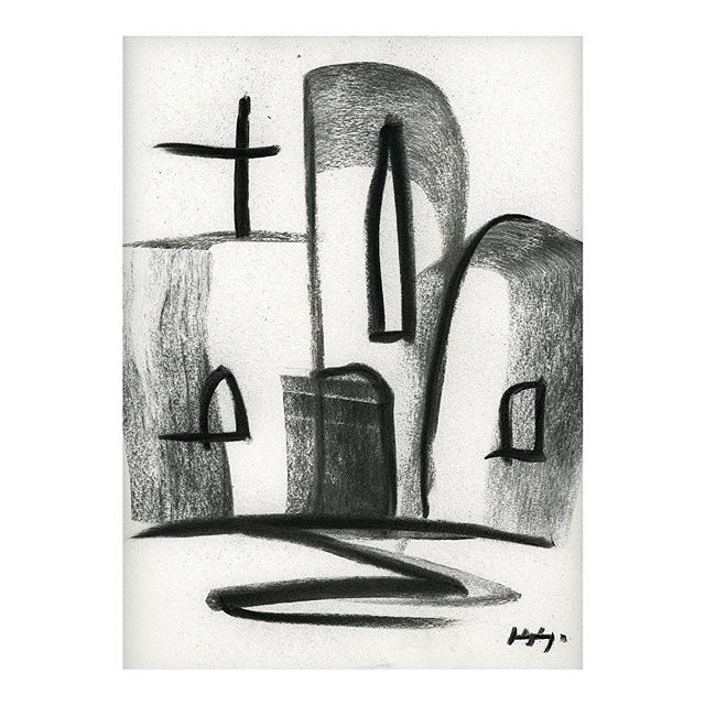 "Chapel 02, 2019. 11x17"" charcoal on paper. . . . . #contemporaryart #charcoaldrawing #fscastro #art"