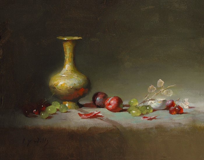 Gilt Vase with Plums    16 x 20    oil on canvas