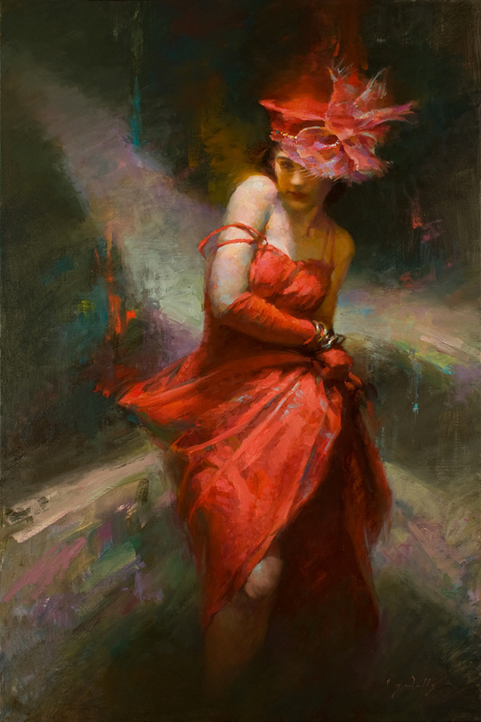 She Beguiles in Red  30 x 20  oil