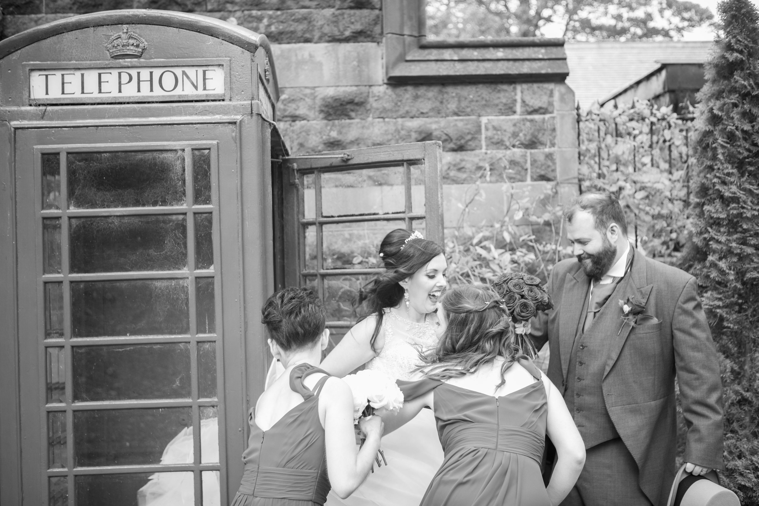 red telephone box at a wedding in London