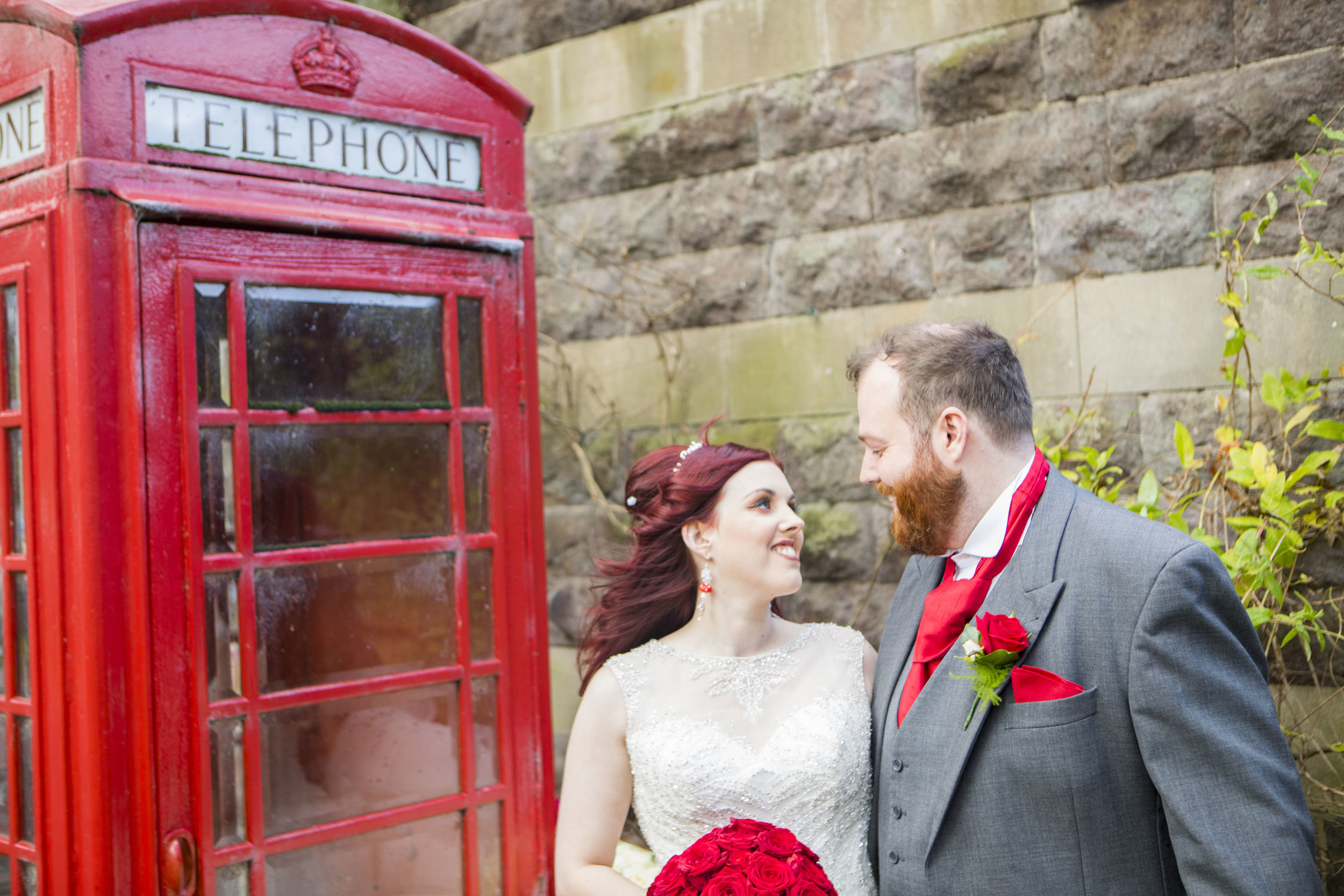 red telephone box wedding photo London
