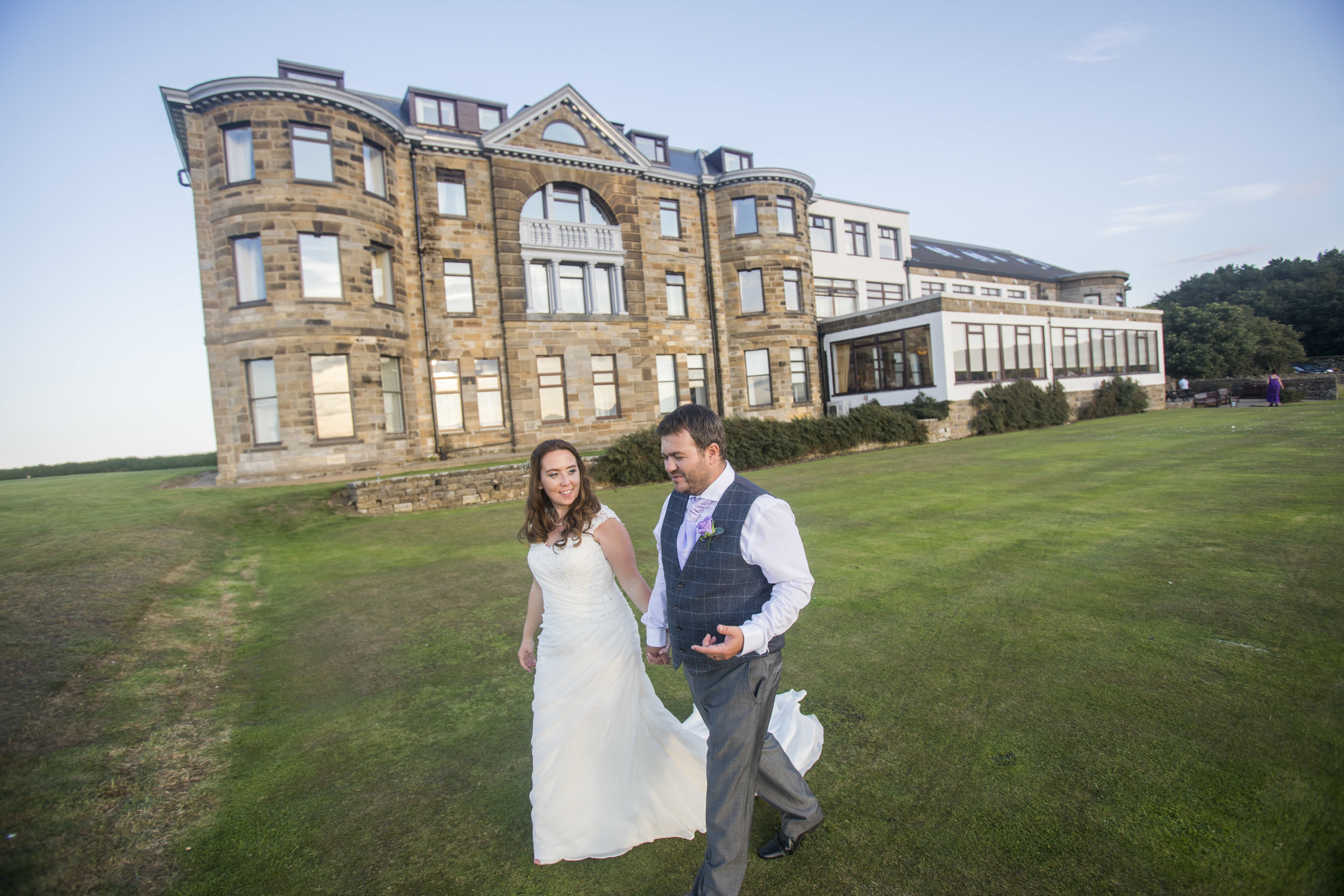 bride and groom at Raven Hall Hotel near Whitby