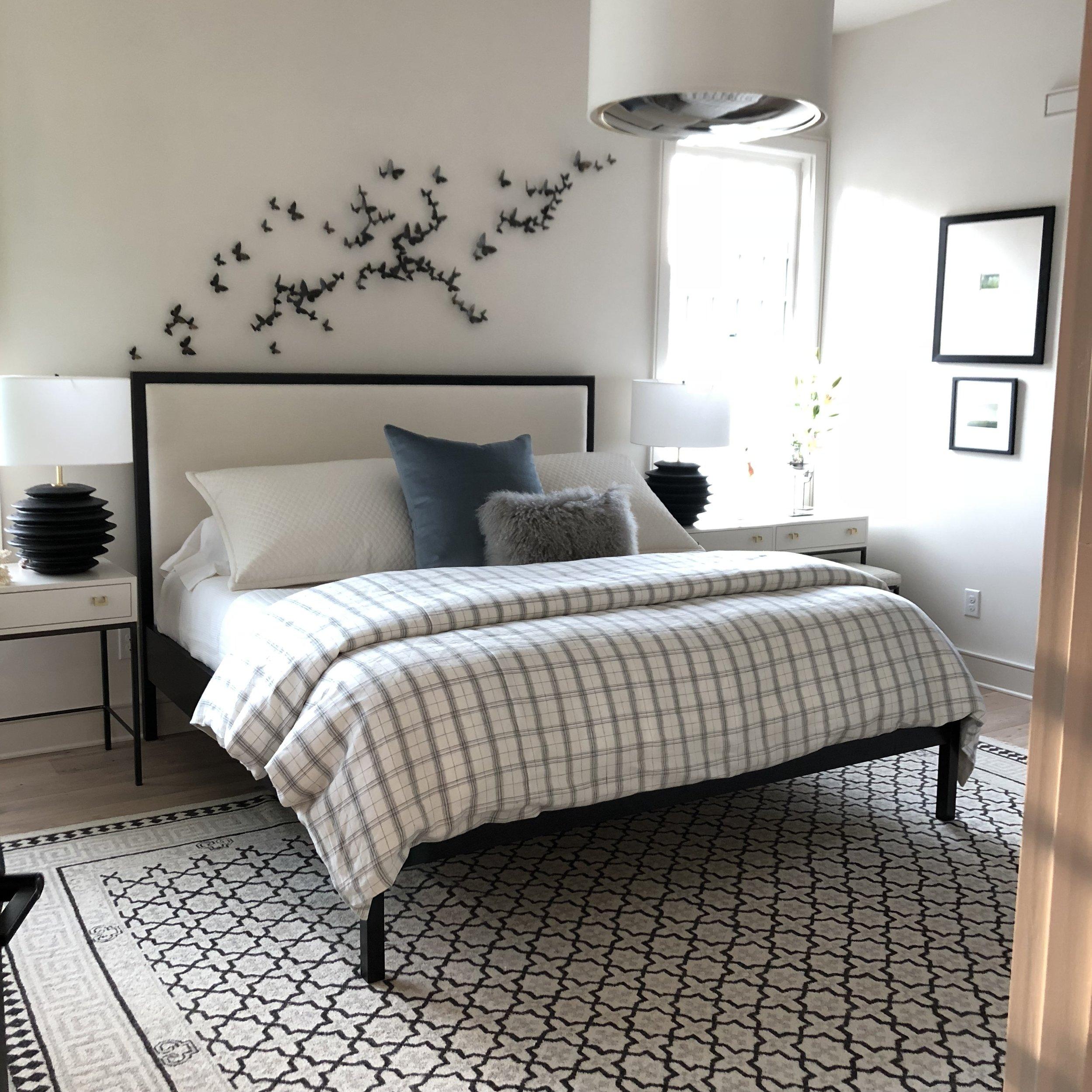 The Jack Ellis Company - Custom White Oak and Fabric Bed