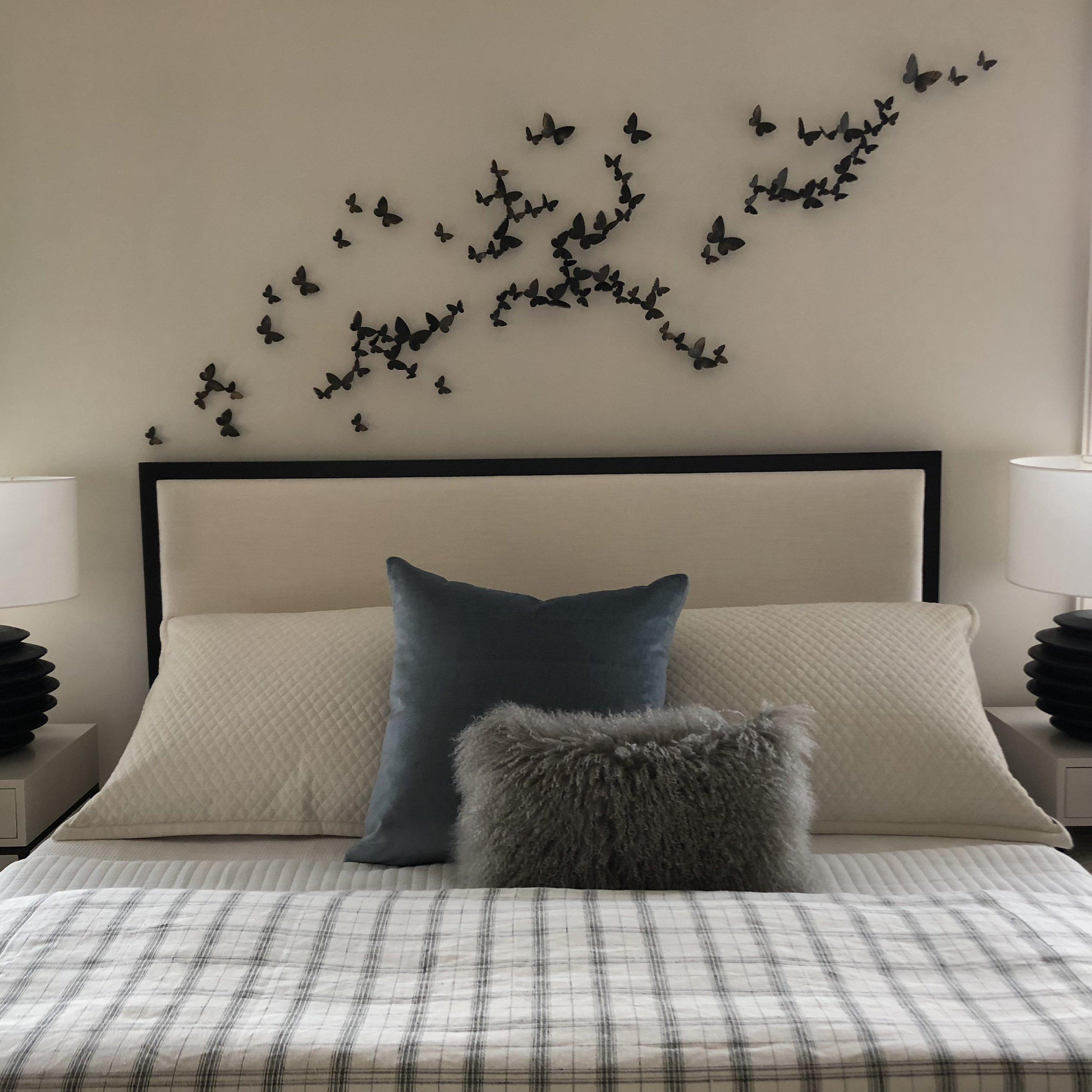 The Jack Ellis Company - Custom White Oak and Fabric Bed detail