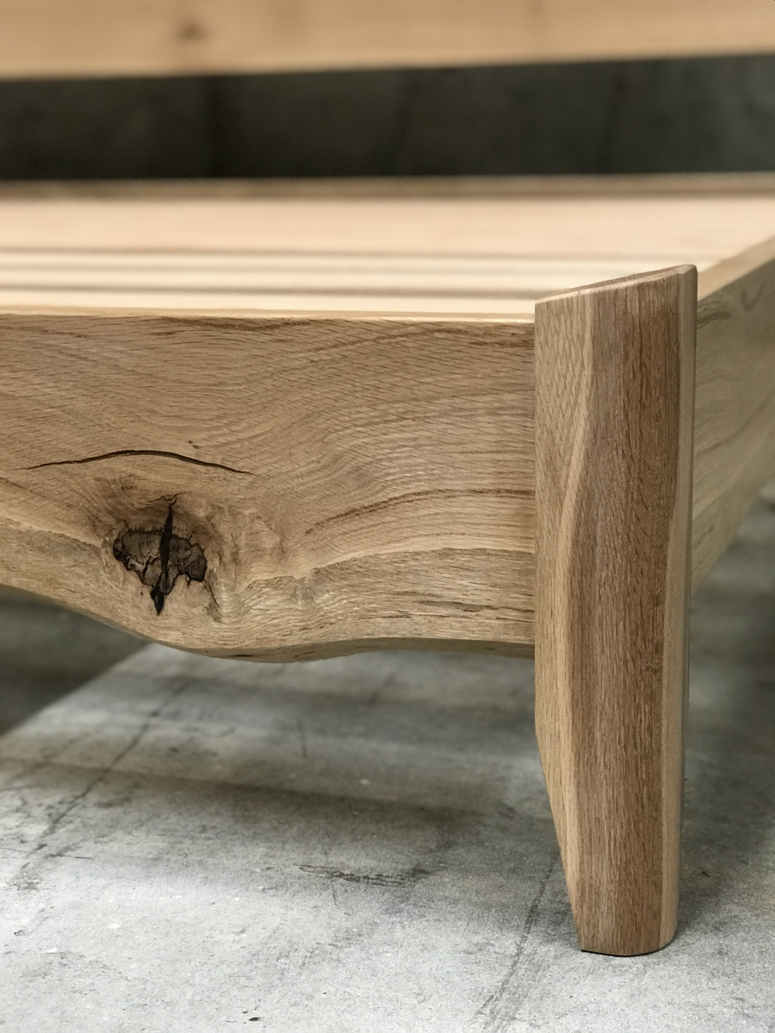 The Jack Ellis Company - Custom Live Edge White Oak Bed detail