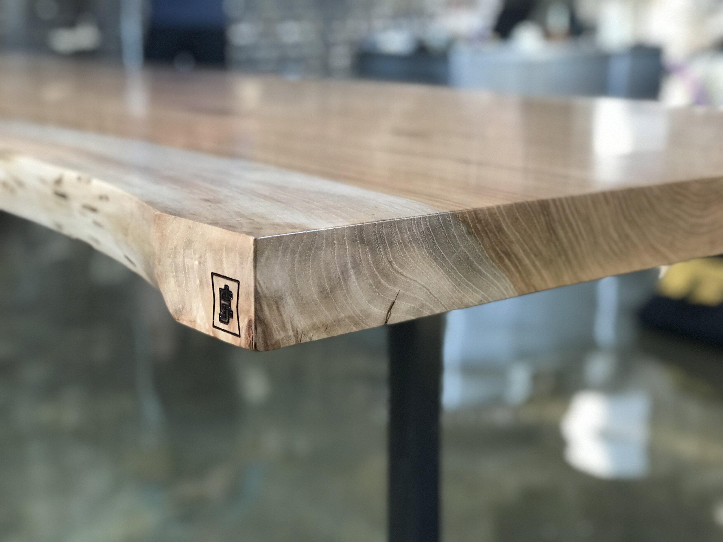 The Jack Ellis Company - Custom Pecan Live Edge Table detail