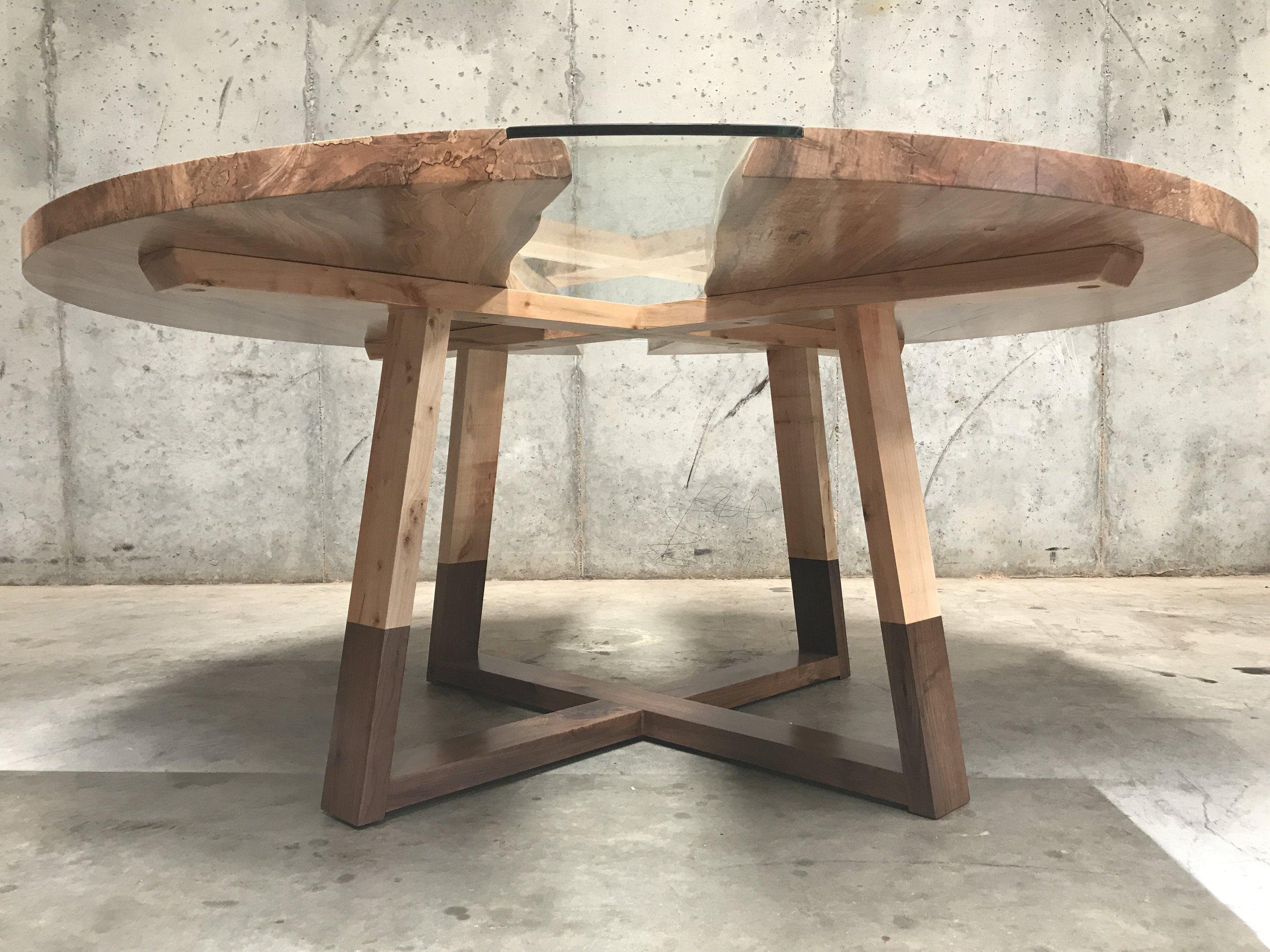 The Jack Ellis Company - Custom Live Edge Ambrosia Maple Round Table