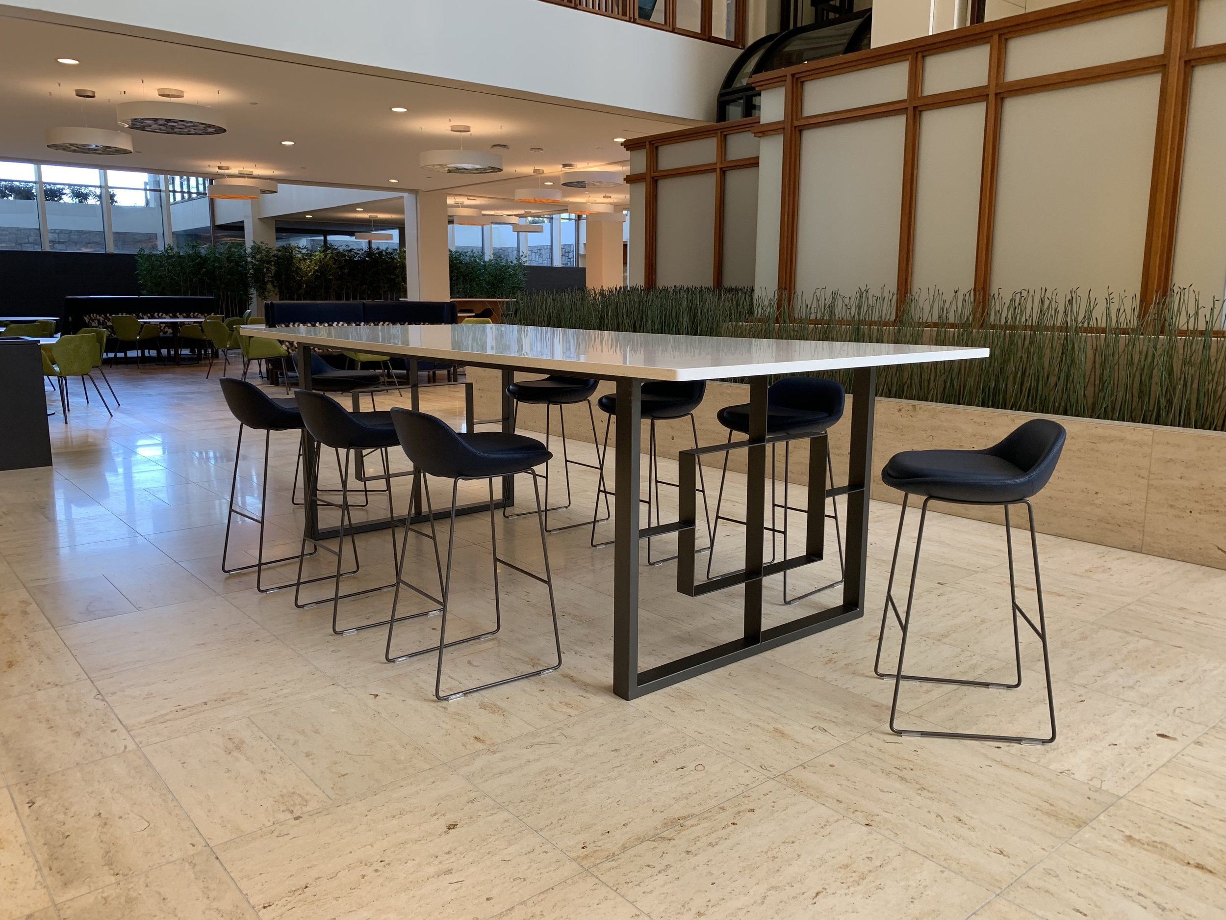 Jack Ellis Company Quartz and steel lobby table