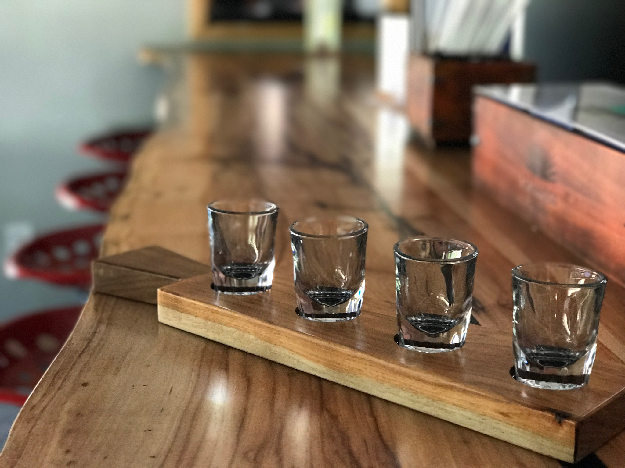 Jack Ellis Company Custom Live Edge Bar , Custom  Whiskey Flight holders and custom shelves
