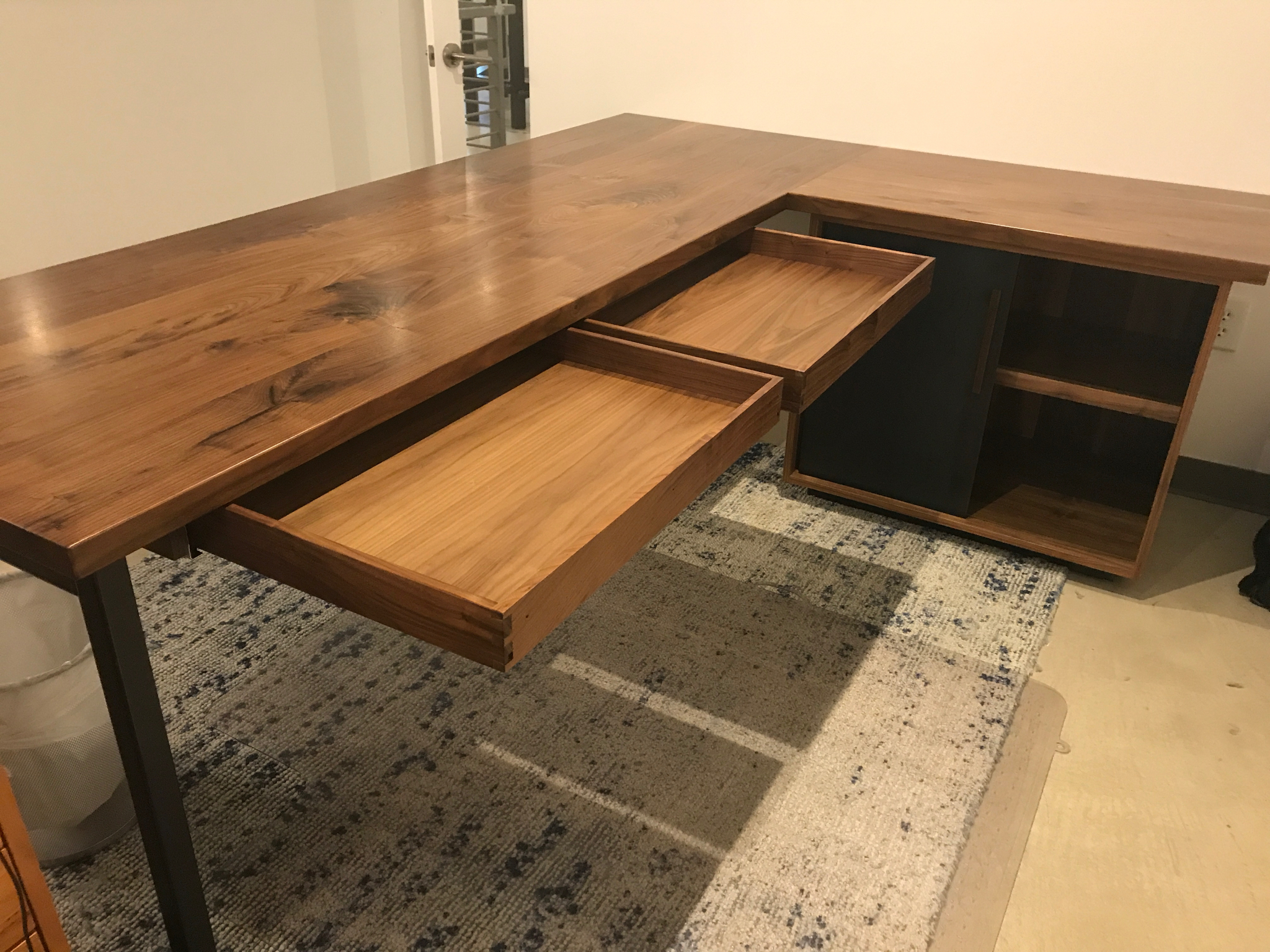 Jack Ellis Company Custom Walnut and Steel Desks