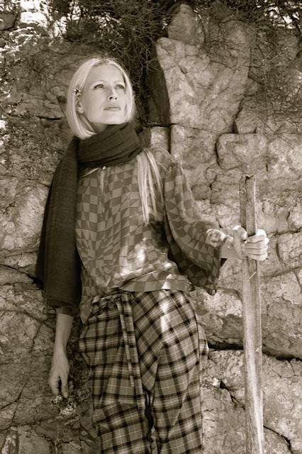 Ayra blouse in kaleidoscope print w/ plaid wool wrap pants