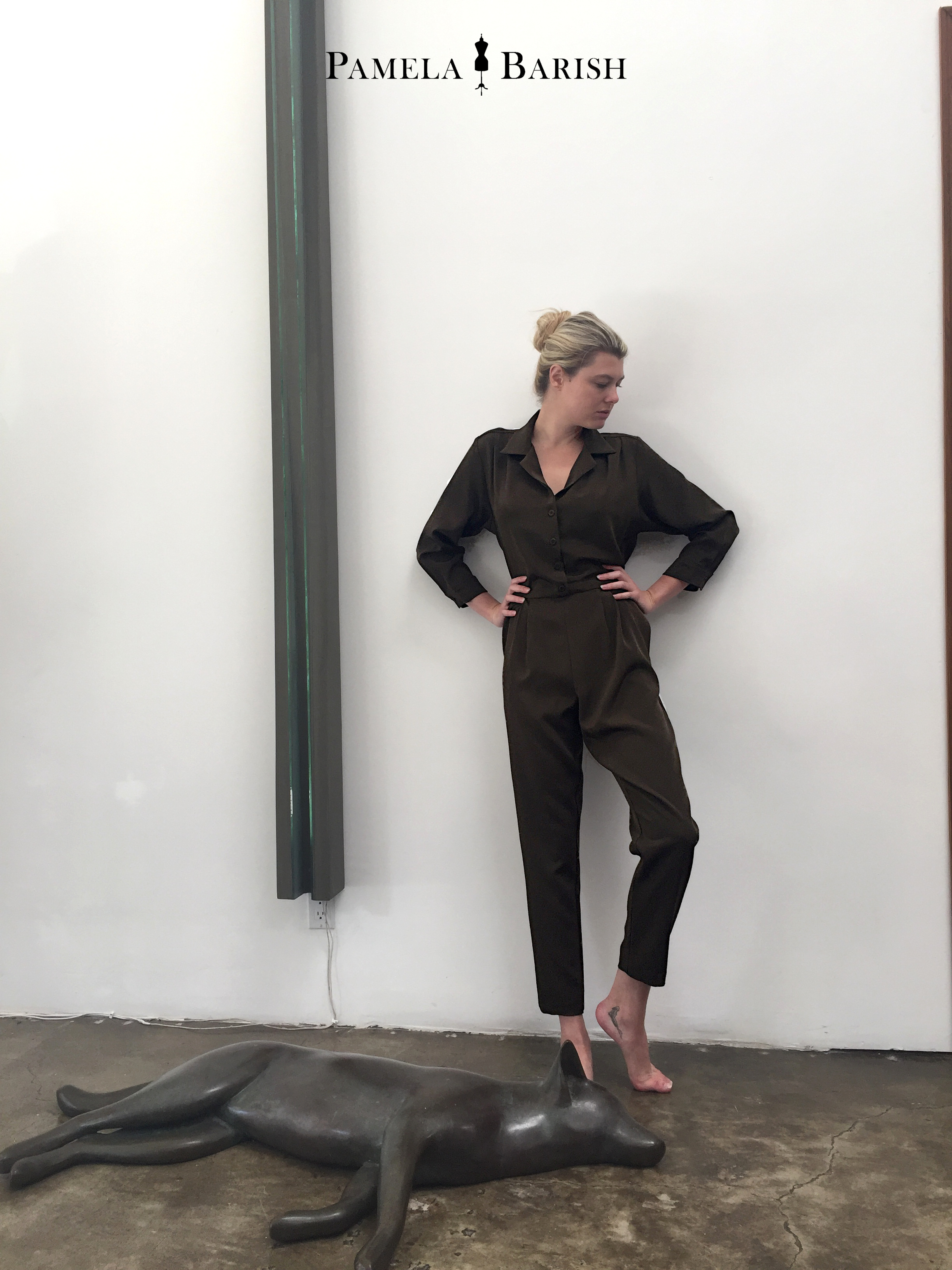 Shirtwaist Jumpsuit in 4 ply silk