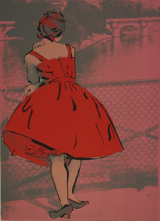 JuneAugust_ParisBridgeRed DressPinkbkg.jpg