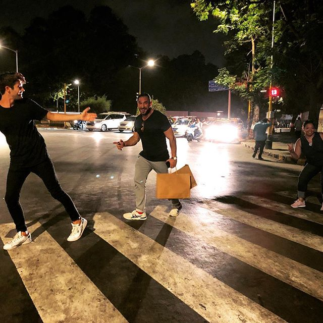 "Trying to pull off an ""Abbey Road"" cover look alike in peak MUMBAI traffic will never happen, we all arrived back on the sidewalk in one piece! #AbbeyRoad #beatles #india #Street #streetphotography #traffic #wereallgonnadie"