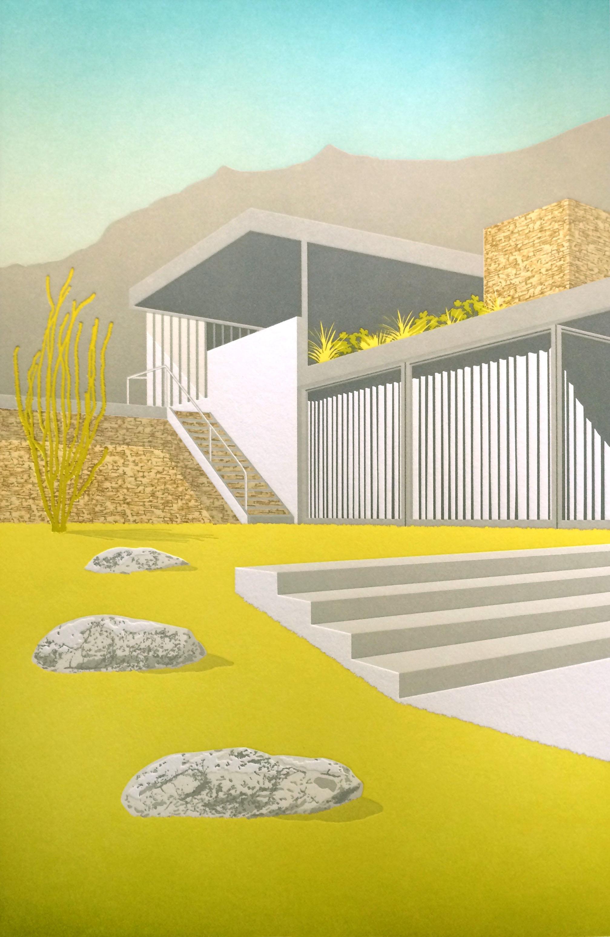 Desert Architecture - Kaufman House 13 pass letterpress piece, 2 split founts. Printed on 100% cotton paper.
