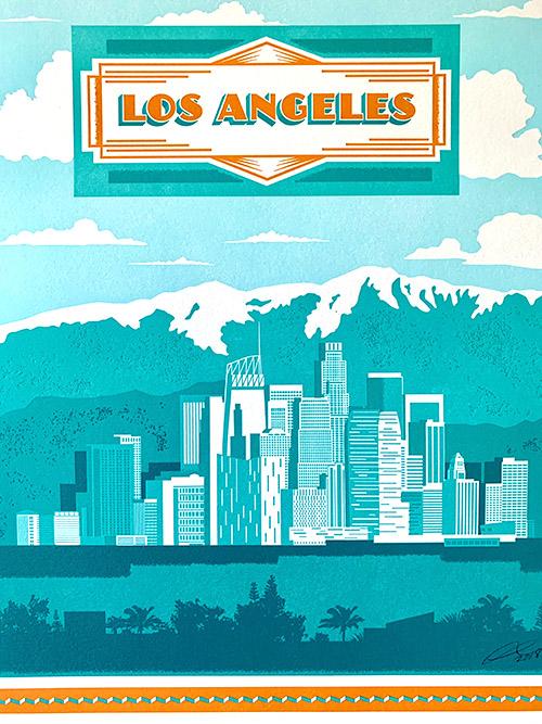Los Angeles 5 pass letterpress piece Printed on 100% cotton paper.