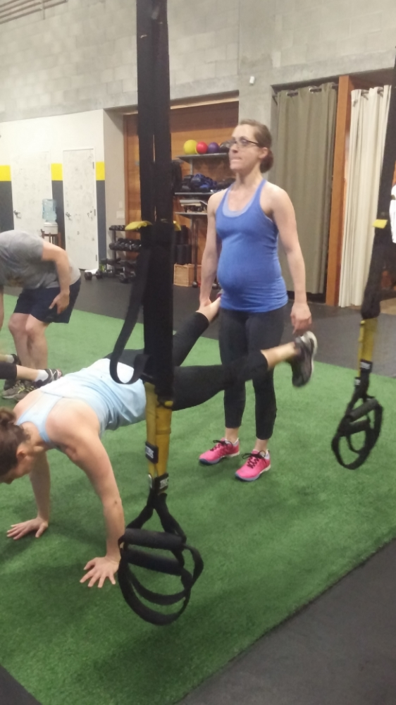 Sarah is really lifting up TWO training partners...get it?! get it?!