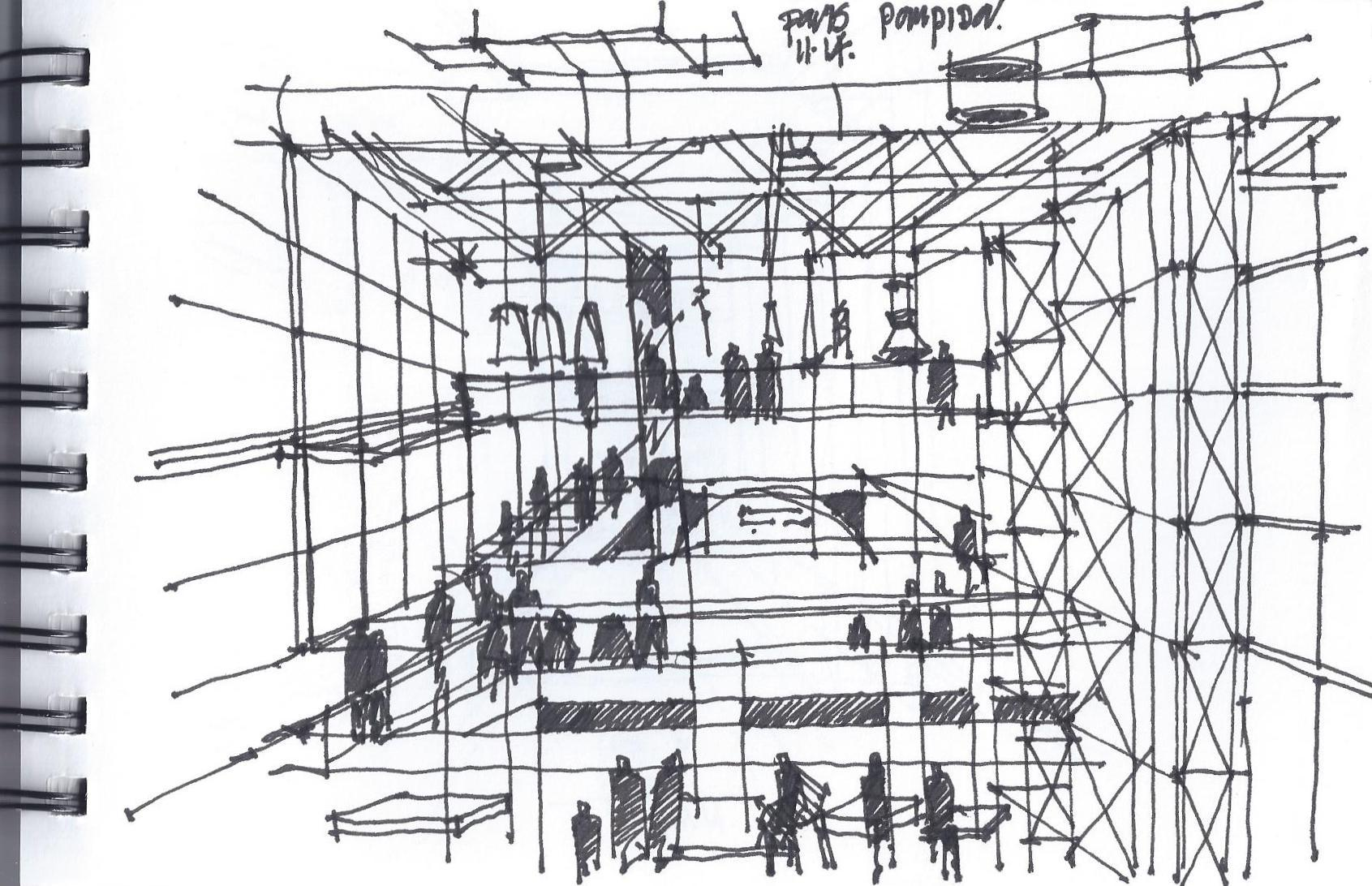 Pompidou Center Interior Main Atrium, Paris, November 2014