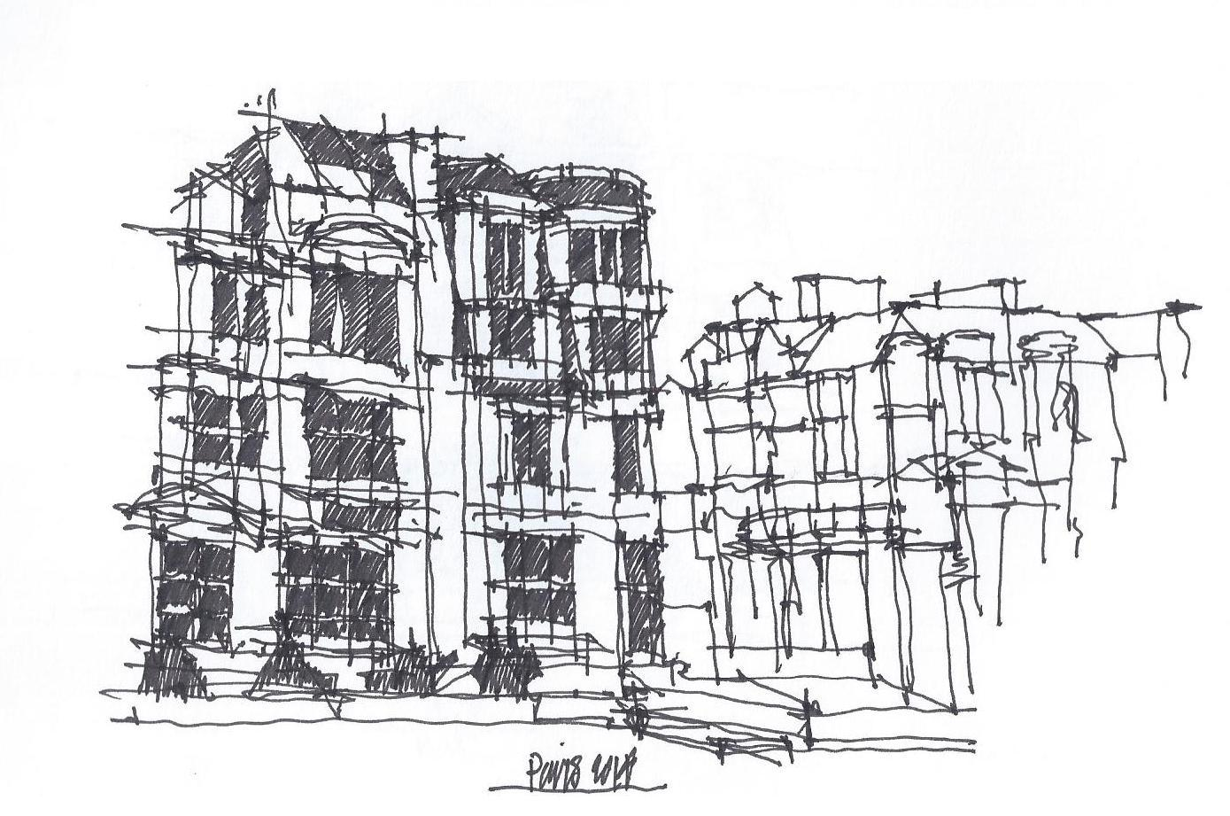 Another really quick sketch as I was standing outside waiting to get into the Musee D'Orsay, Paris, Nov., 2014