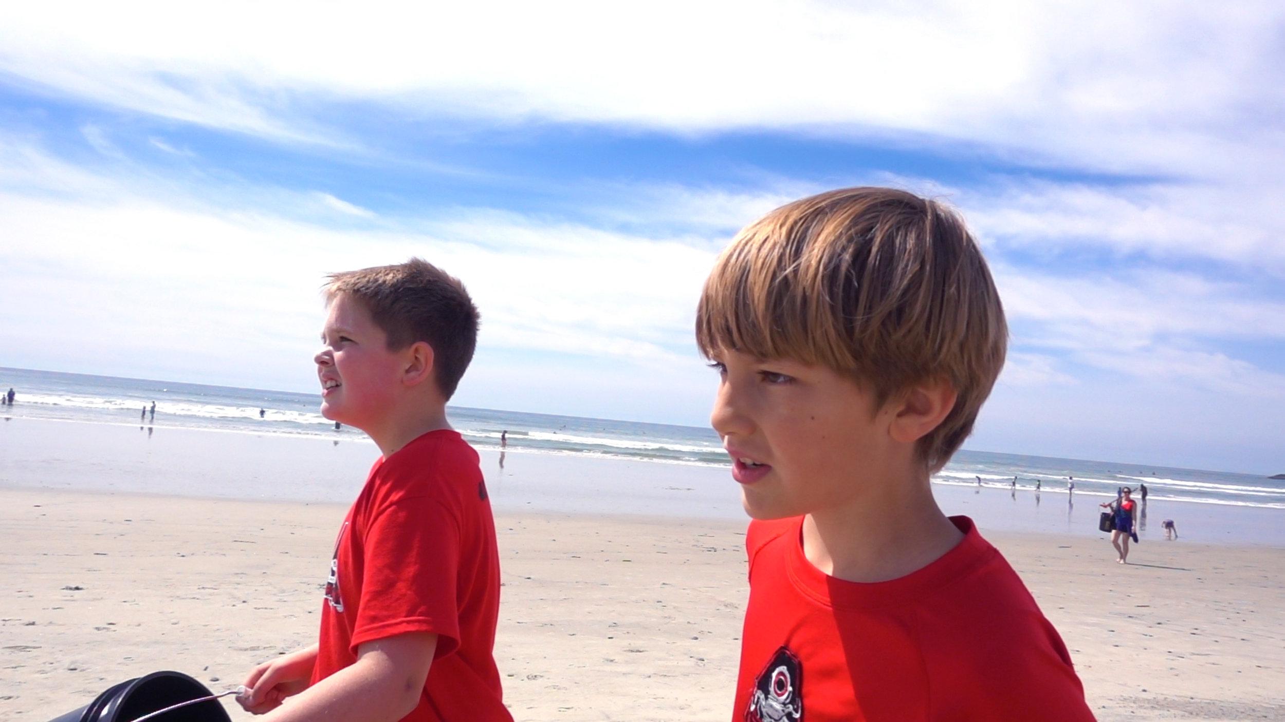 -Beach Cleanup - walking with fellow Microactivst friend Kaleb Bettle.jpg
