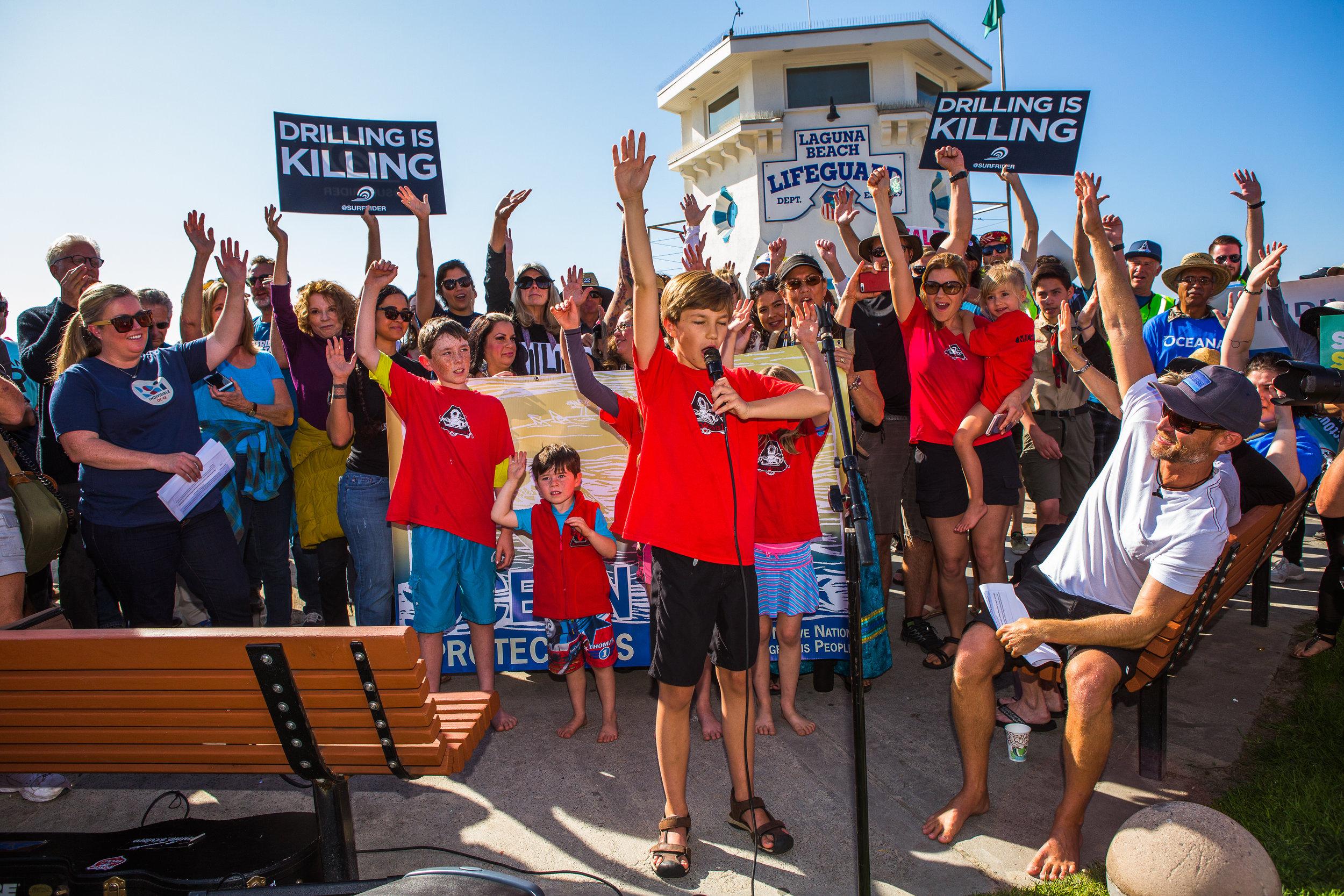 -Speech - Laguna Beach No offshore drilling protest organizers shown include Ted Danson, Sara Lowell, Rich German.JPG