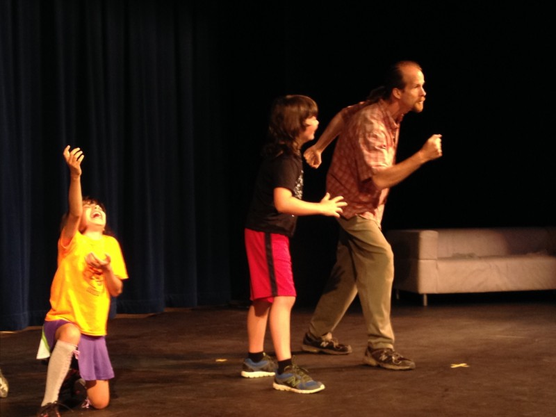 We explore theatrical expression in a variety of ways--theater games, acting exercises,scene rehearsals, and singing