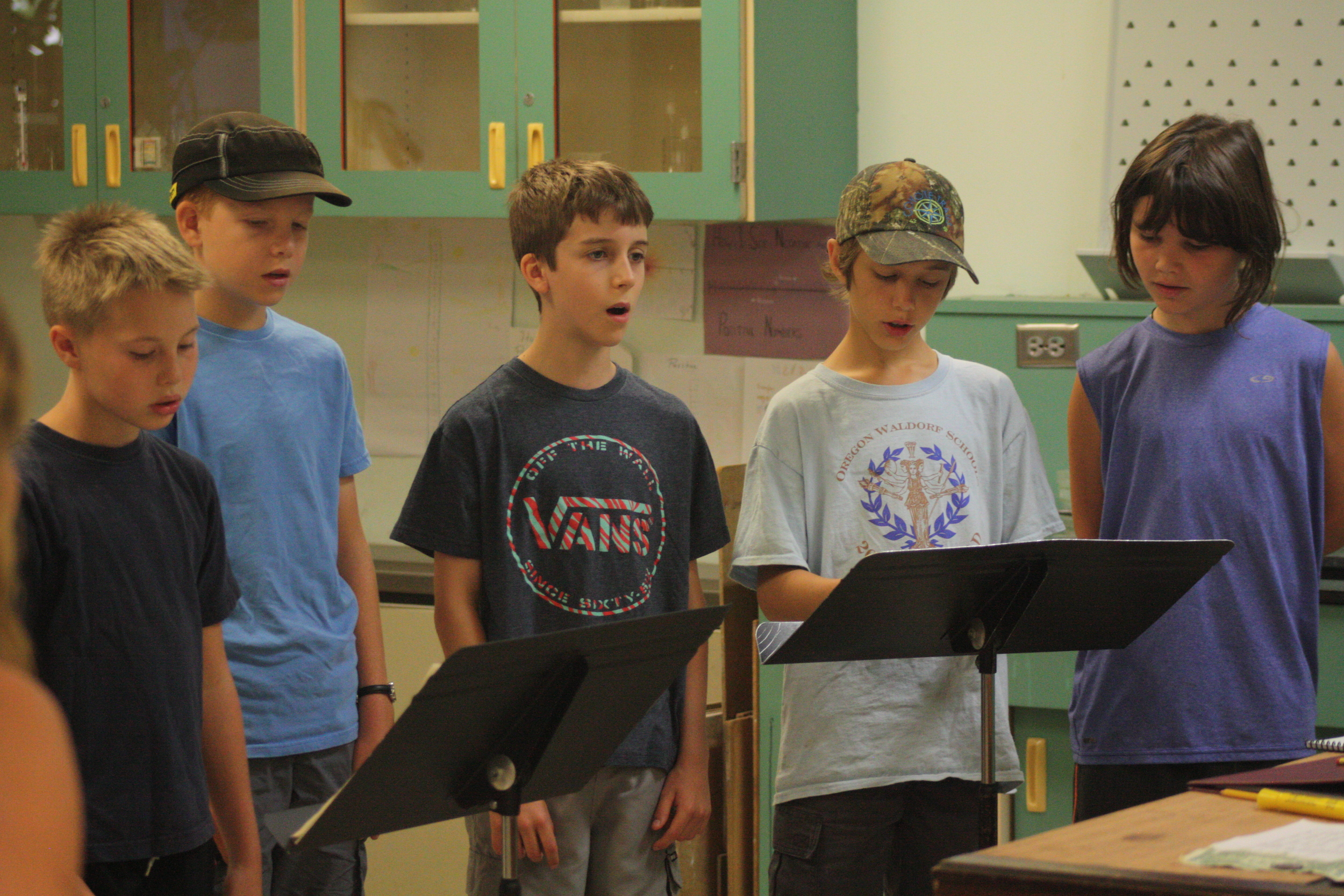 Singing rehearsal during the first week of camp