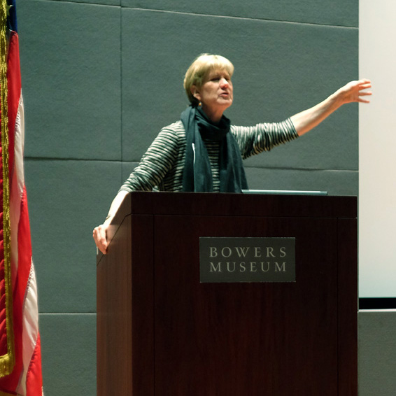 Meg Partridge Speaking at the Bowers Museum