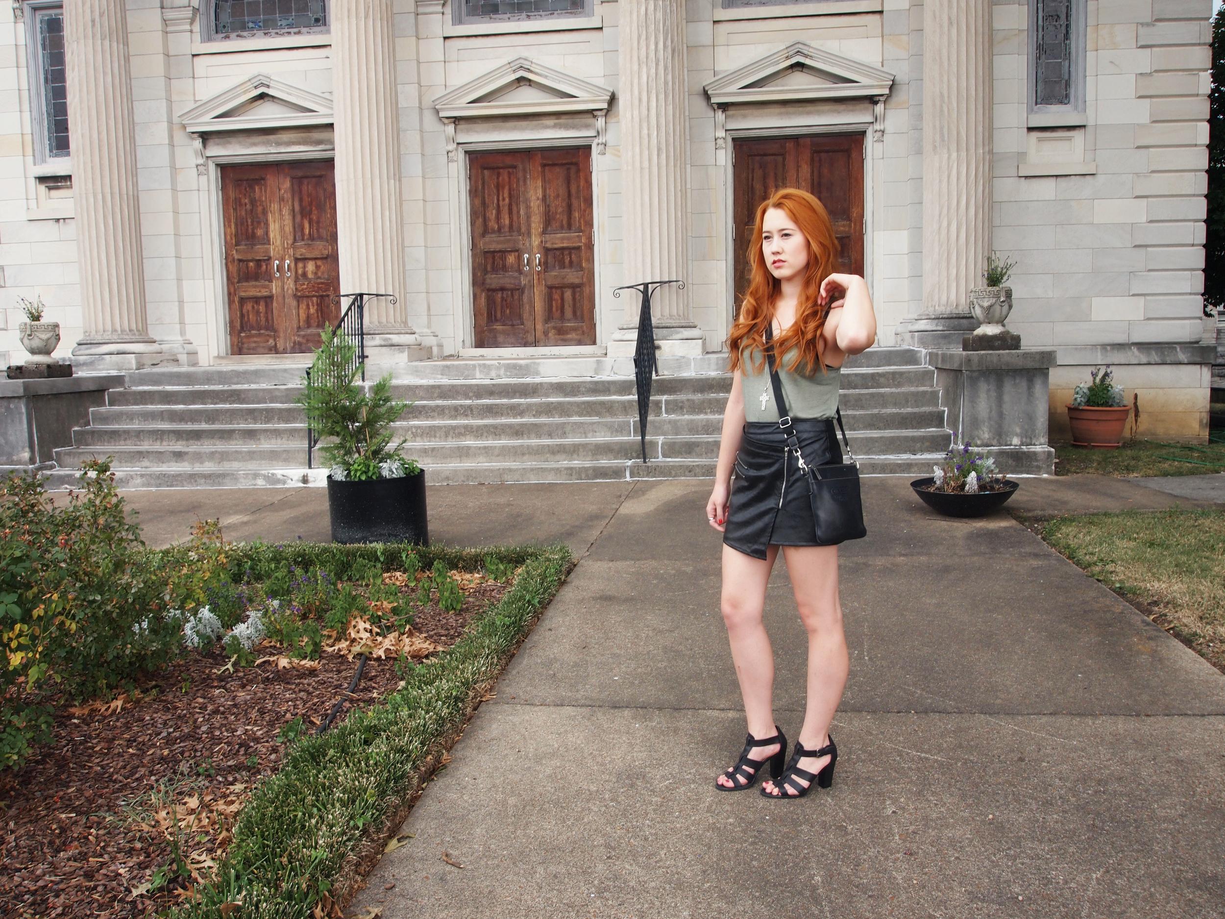 Len tank top ,  Dry Goods skirt ,  DSW heels ,  Coach purse