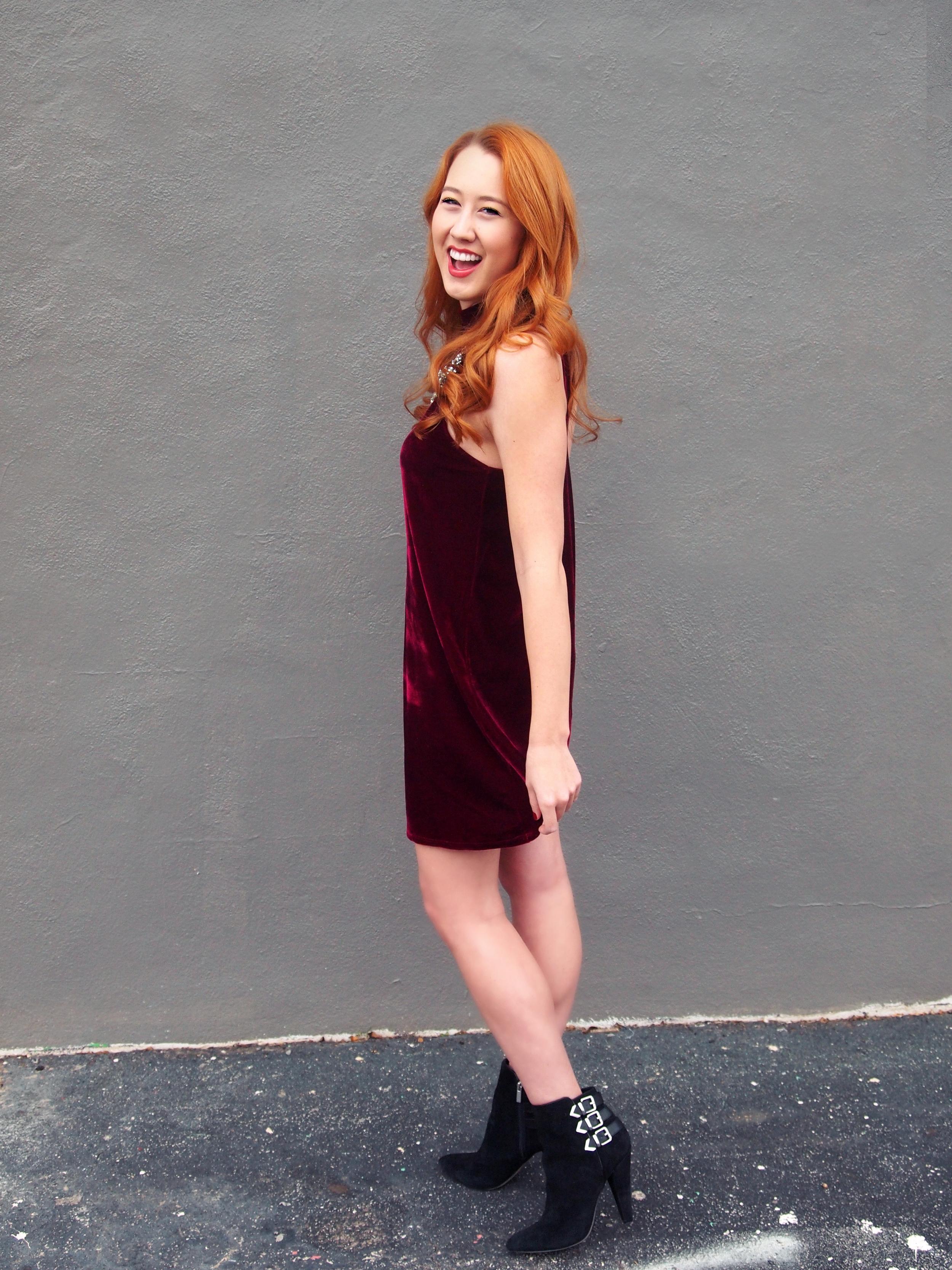 Lulu's dress , Etsy necklace ( similar ),  DV Dolce Vita Booties