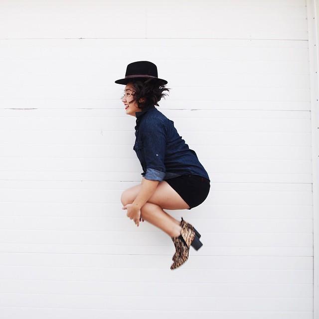 Brixton hat ,  J.Crew shirt ,  Urban Outfitters shorts ,  Report Signature booties ,  Francesca's sunglasses
