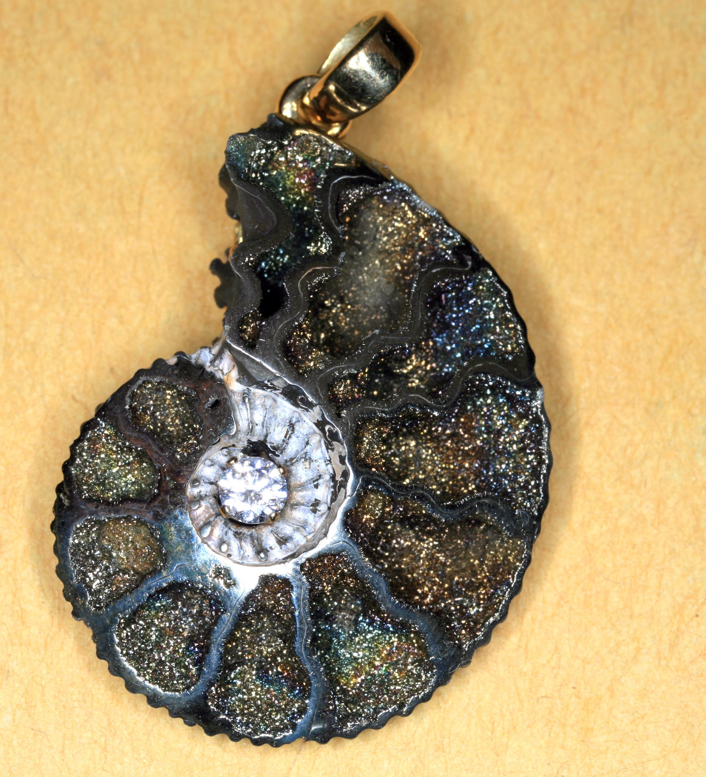 Pyritized Ammonite. Diamond. K18 Yellow Gold - Sold