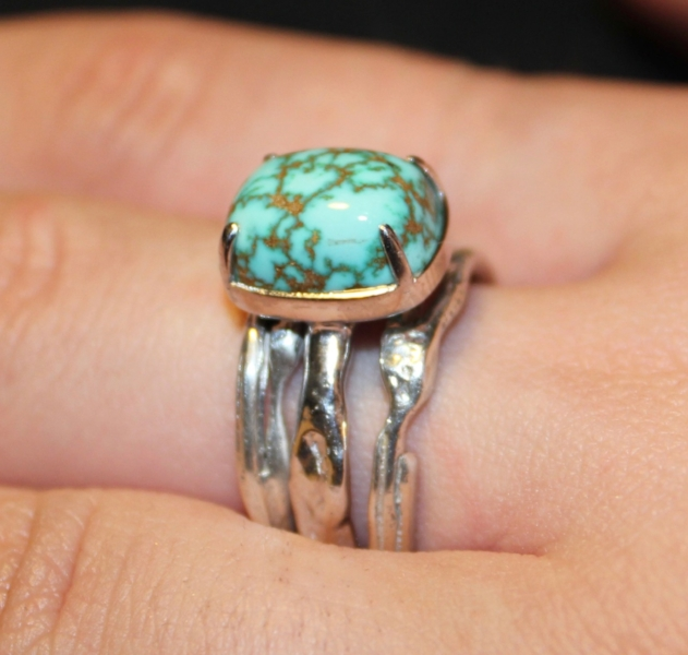 Turquoise. K18 Yellow Gold. Silver 925  - Sold