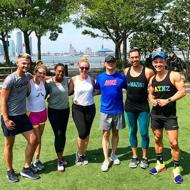 Beautiful Sunday morning on the pier with this A+MAZING crew!  Who's in for September? #NYC #bootcamp #clubtran #tranfan