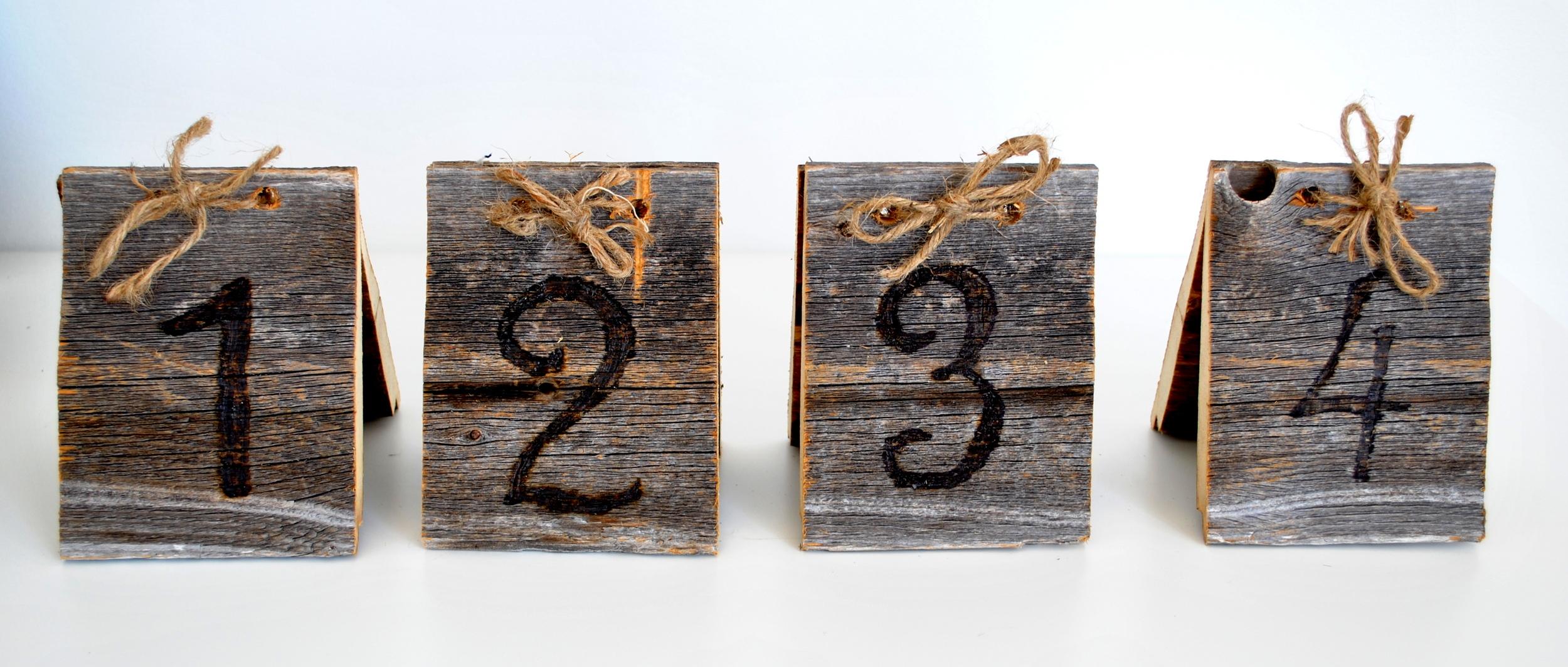 Wood Burned Barn Wood Table Numbers