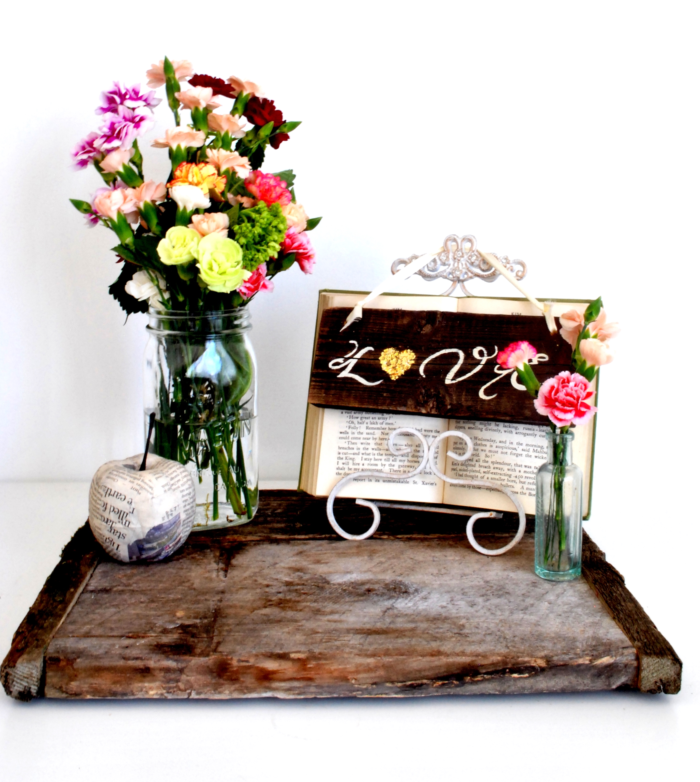 Barn Wood Flat Square Centerpiece