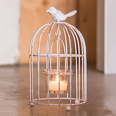 Small Metal Birdcage with Suspended Candle Holder