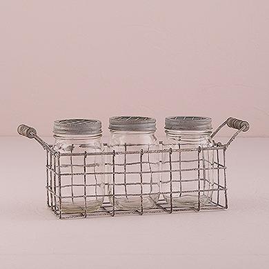 Vintage Inspired Mason Jar Set with Metal Caged Holder