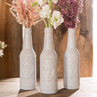 Grey Bottles with Lavender Motif