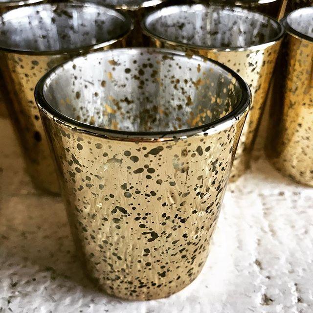Mini Gold Mercury Glass Tea Light Holders