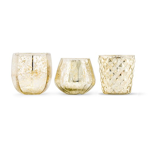 Assorted Gold Mercury Glass Candle Holders