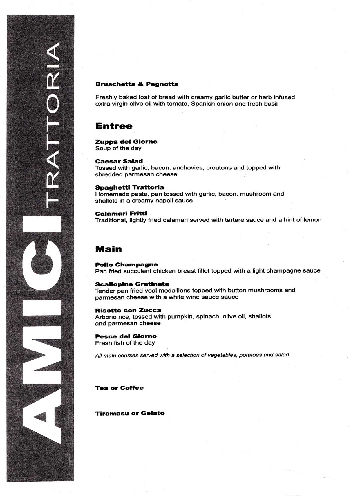 Amici Trattoria menu for the night