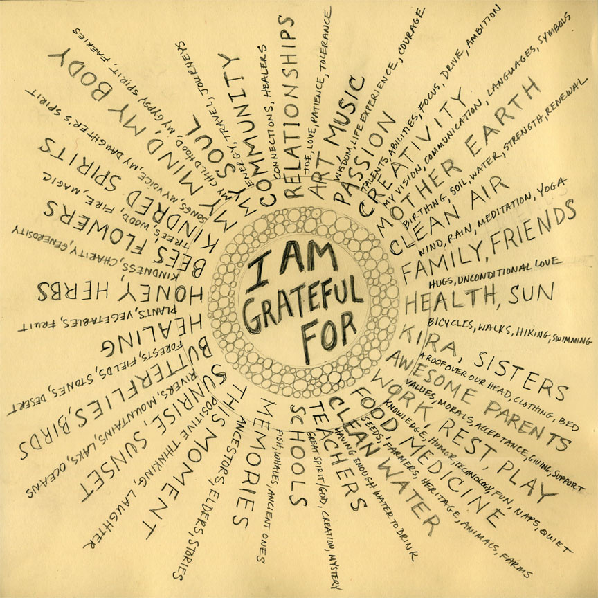 I kept a gratitude journal all throughout my college years. I wrote 5 things a day and to this day it's something I read that makes me smile. IMAGE: Google