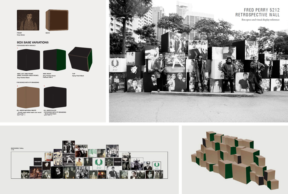Retrospective Wall – A photo montage wall created for Fred Perry Singapore, 60 years of Subculture anniversary