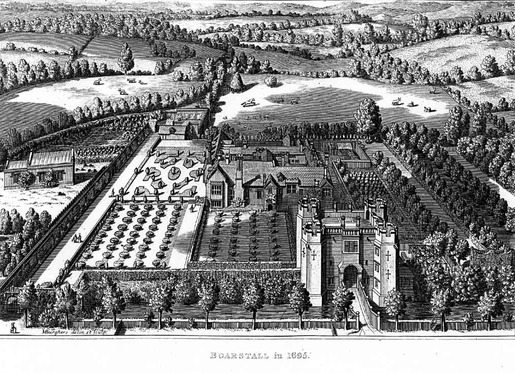 Boarstal Towers lithograph dated 1695